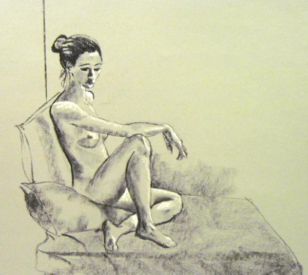 Seated nude on pillow