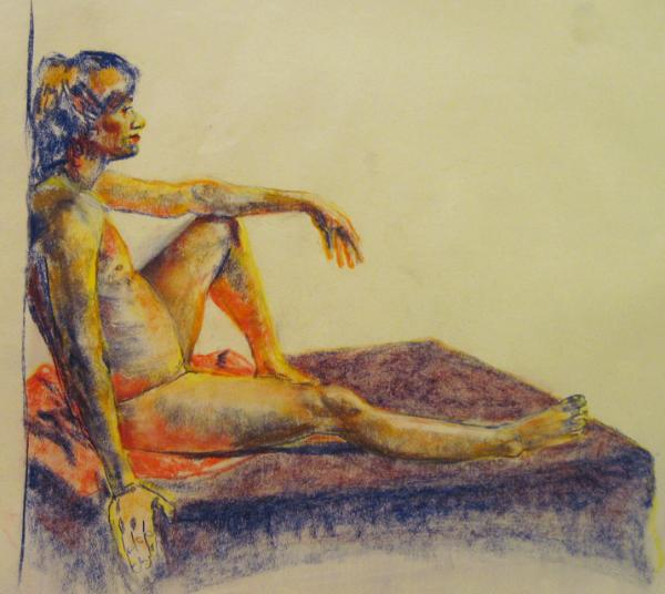 Seated man pastel
